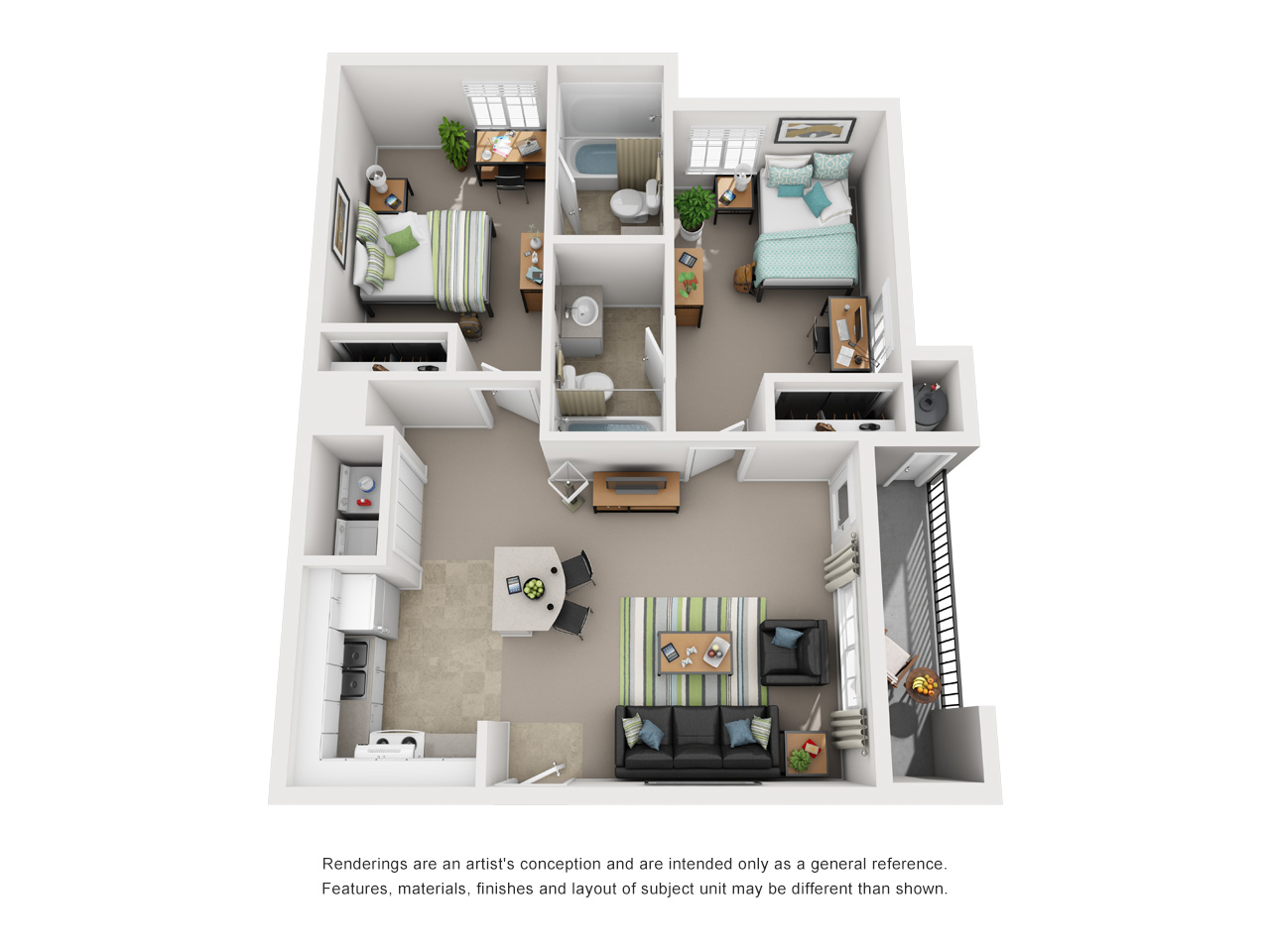Floor plan of 2 bed, 2 bath student apartment
