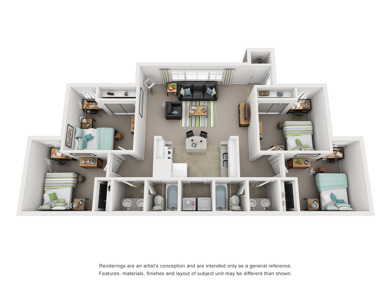 Four-bed, two-bath floor plan