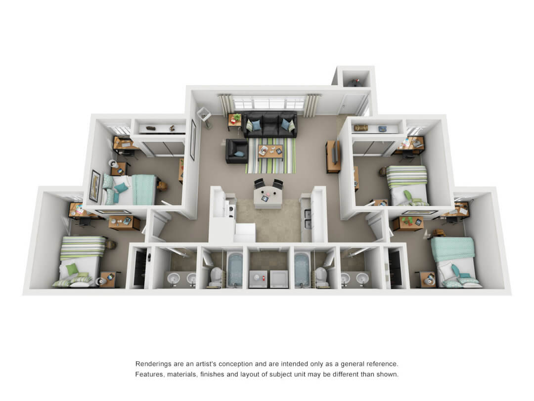 Floor plan of 4 bed, 2 bath student apartment